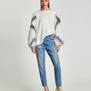 Zara Faux Fur Sleeve Sweatshirt